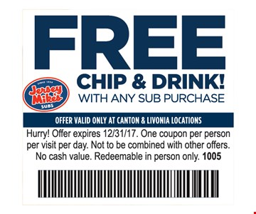 Free chip & drink! with any sub purchase.