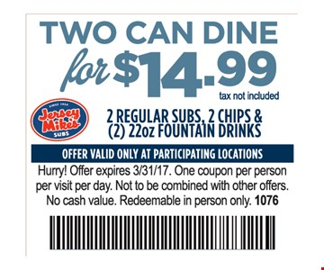 Two Can Dine for $14.99