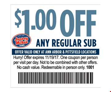 $1.00 Off any regular sub
