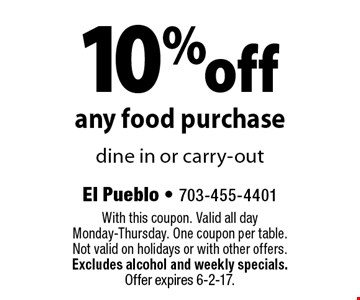 10% off any food purchase. Dine in or carry-out. With this coupon. Valid all day Monday-Thursday. One coupon per table. Not valid on holidays or with other offers. Excludes alcohol and weekly specials. Offer expires 6-2-17.