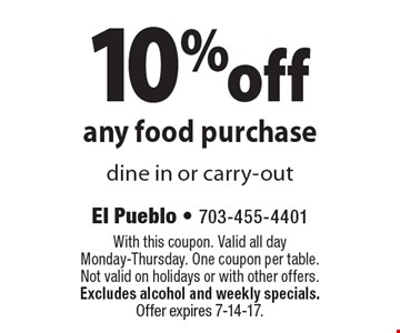 10% off any food purchase dine in or carry-out. With this coupon. Valid all day. Monday-Thursday. One coupon per table. Not valid on holidays or with other offers. Excludes alcohol and weekly specials. Offer expires 7-14-17.