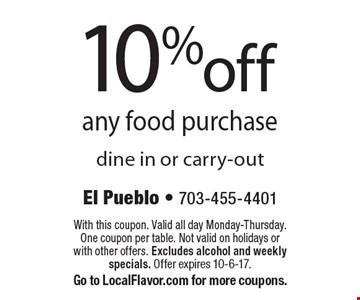 10% off any food purchase. Dine in or carry-out. With this coupon. Valid all day Monday-Thursday. One coupon per table. Not valid on holidays or with other offers. Excludes alcohol and weekly specials. Offer expires 10-6-17. Go to LocalFlavor.com for more coupons.