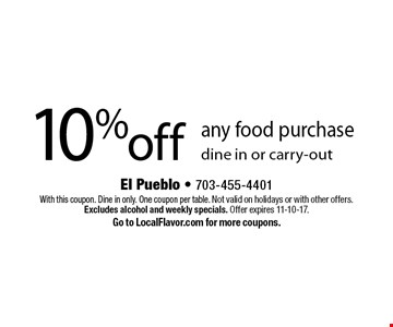 10% off any food purchase. Dine in or carry-out. With this coupon. Dine in only. One coupon per table. Not valid on holidays or with other offers. Excludes alcohol and weekly specials. Offer expires 11-10-17. Go to LocalFlavor.com for more coupons.