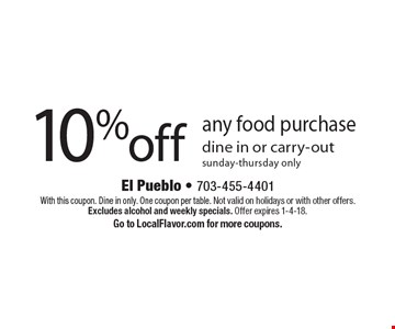 10% off any food purchase dine in or carry-out sunday-thursday only. With this coupon. Dine in only. One coupon per table. Not valid on holidays or with other offers. Excludes alcohol and weekly specials. Offer expires 1-4-18. Go to LocalFlavor.com for more coupons.