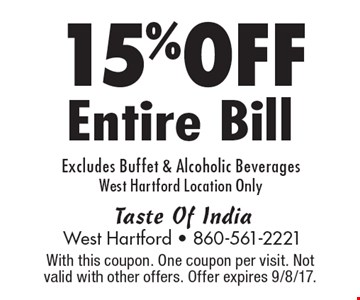 15%OFF Entire Bill Excludes Buffet & Alcoholic Beverages West Hartford Location Only. With this coupon. One coupon per visit. Not valid with other offers. Offer expires 9/8/17.