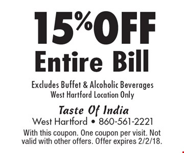 15% OFF Entire Bill Excludes Buffet & Alcoholic Beverages West Hartford Location Only. With this coupon. One coupon per visit. Not valid with other offers. Offer expires 2/2/18.