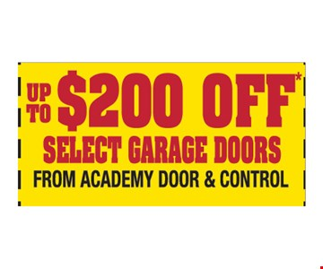 Up to $200 off select garage doors