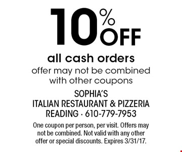 10% Off all cash orders. Offer may not be combined with other coupons. One coupon per person, per visit. Offers may not be combined. Not valid with any other offer or special discounts. Expires 3/31/17.