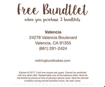 Free Bundtlet when you purchase 2 bundtlets. Expires 4/10/17.