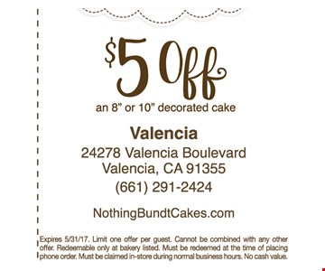 $5 off an 8 inch or 10 inch decorated cake