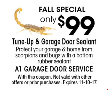 FALL Special only $99 Tune-Up & Garage Door Sealant. Protect your garage & home from scorpions and bugs with a bottom rubber sealant. With this coupon. Not valid with other offers or prior purchases. Expires 11-10-17.