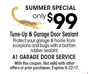SUMMER SPECIAL only $99 Tune-Up & Garage Door Sealant Protect your garage & home from scorpions and bugs with a bottom rubber sealant. With this coupon. Not valid with other offers or prior purchases. Expires 9-22-17.
