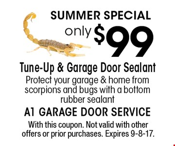 Summer Special only $99 Tune-Up & Garage Door Sealant Protect your garage & home from scorpions and bugs with a bottom rubber sealant. With this coupon. Not valid with other offers or prior purchases. Expires 9-8-17.