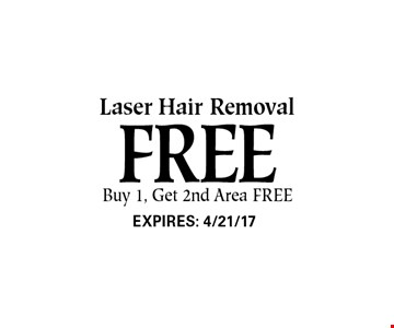 Free Laser Hair Removal Buy 1, Get 2nd Area FREE.
