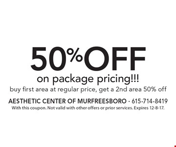 50%off on package pricing!!! Buy first area at regular price, get a 2nd area 50% off. With this coupon. Not valid with other offers or prior services. Expires 12-8-17.