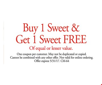 Buy 1 Sweet and Get 1 Sweet Free