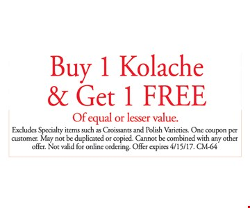 Buy 1 Kolache and get 1 free