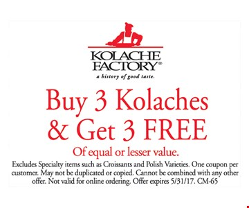 Buy 3 Kolaches & Get 3 Free