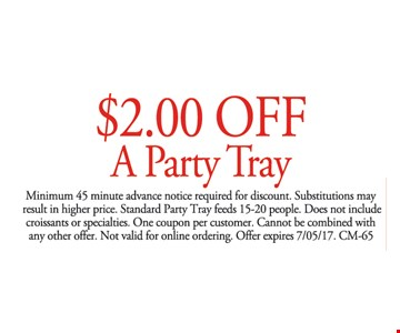 $2 off a party tray