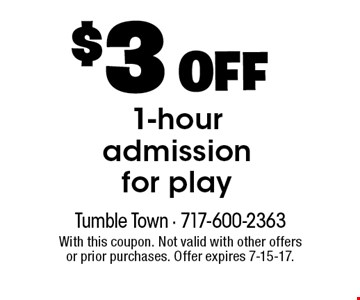 $3 OFF 1-hour admission for play. With this coupon. Not valid with other offers or prior purchases. Offer expires 7-15-17.