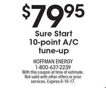$79.95 Sure Start 10-point A/C tune-up. With this coupon at time of estimate. Not valid with other offers or prior services. Expires 6-16-17.