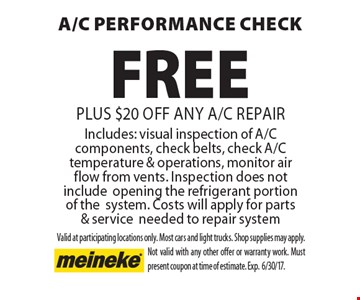 FREE a/c performance check plus $20 off any A/C RepairIncludes: visual inspection of A/C components, check belts, check A/C temperature & operations, monitor air flow from vents. Inspection does not include opening the refrigerant portion of the system. Costs will apply for parts & service needed to repair system. Valid at participating locations only. Most cars and light trucks. Shop supplies may apply. Not valid with any other offer or warranty work. Must present coupon at time of estimate. Exp.6/30/17.