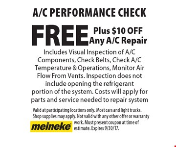 Free A/C performance check. Includes visual inspection of A/C components, check belts, Check A/C temperature & operations, monitor air flow from vents. Inspection does not include opening the refrigerant portion of the system. Costs will apply for parts and service needed to repair system. Plus $10 off any A/C repair. Valid at participating locations only. Most cars and light trucks. Shop supplies may apply. Not valid with any other offer or warranty work. Must present coupon at time of estimate. Expires 9/30/17.