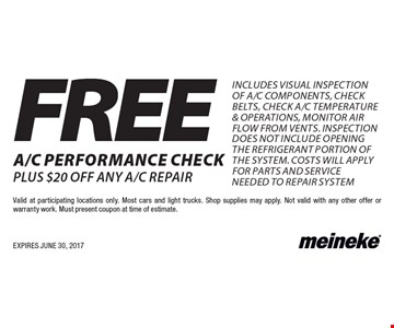 FREE a/c performance check plus $20 OFF any a/c repair Includes Visual Inspection of A/C Components, Check Belts, Check A/C Temperature & Operations, Monitor Air Flow From Vents. Inspection does not include opening the refrigerant portion of the system. Costs will apply for parts and service needed to repair system. Valid at participating locations only. Most cars and light trucks. Shop supplies may apply. Not valid with any other offer or warranty work. Must present coupon at time of estimate. EXPIRES JUNE 30, 2017