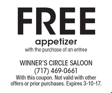 Free appetizer with the purchase of an entree. With this coupon. Not valid with other offers or prior purchases. Expires 3-10-17.