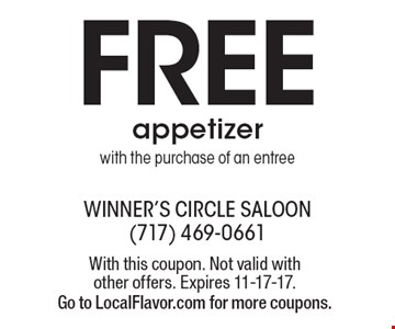 Free Appetizer With The Purchase Of An Entree. With this coupon. Not valid with other offers. Expires 11-17-17. Go to LocalFlavor.com for more coupons.