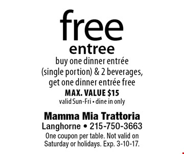 free entree. Buy one dinner entree (single portion) & 2 beverages, get one dinner entree free. Max. value $15. Valid Sun-Fri - dine in only. One coupon per table. Not valid onSaturday or holidays. Exp. 3-10-17.