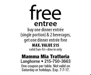 free entree buy one dinner entree (single portion) & 2 beverages, get one dinner entree free max. value $15valid Sun-Fri - dine in only. One coupon per table. Not valid on Saturday or holidays. Exp. 7-7-17.