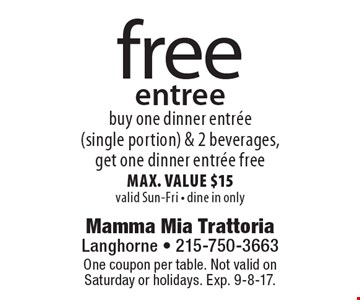 Free entree buy one dinner entree (single portion) & 2 beverages, get one dinner entree free max. value $15 valid Sun-Fri - dine in only. One coupon per table. Not valid on Saturday or holidays. Exp. 9-8-17.