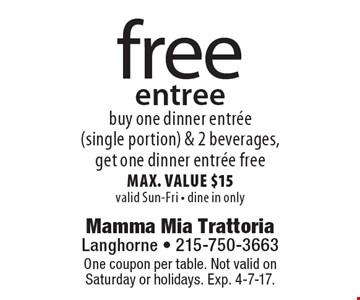 Free entree. Buy one dinner entree (single portion) & 2 beverages, get one dinner entree free. Max. value $15. Valid Sun-Fri. Dine in only. One coupon per table. Not valid on Saturday or holidays. Exp. 4-7-17.