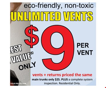 Unlimited Vents $9 Per Vent