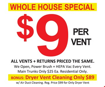 $9 per vent air duct cleaning, whole house special
