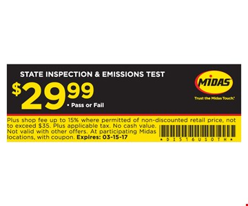 State Inspection & Emissions Test $29.99