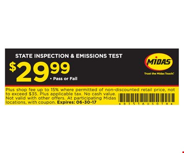 State inspection and emissions test $29.99