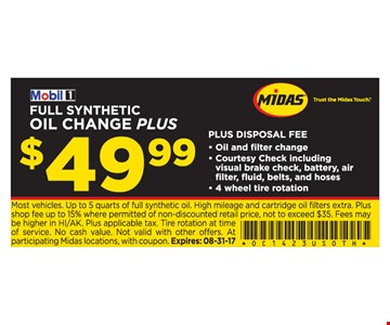 $49.99 Full Synthetic Oil Change Plus