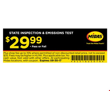 STATE INSPECTION & EMISSIONS TEST for $29.99