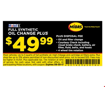 FULL SYNTHETIC OIL CHANGE PLUS for $49.99