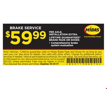 $59.99 Brake Service
