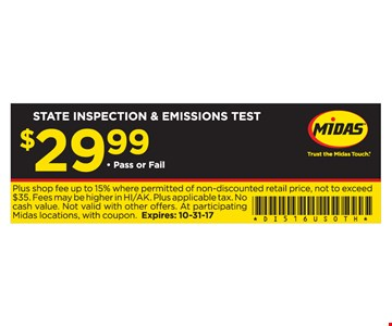 $29.99 State Inspection and Emissions Test