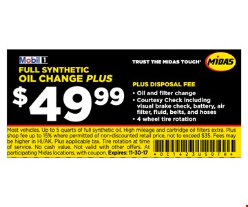$49.99 Miobile full synthetic oil change plus