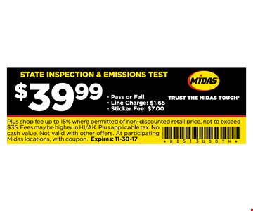 $39.99 state inspection & emissions test