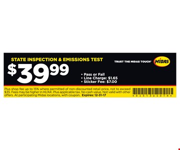 State Inspection & Emissions Test $39.99