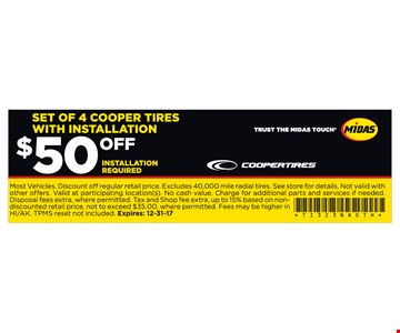 4 Cooper Tires With Installation $50 Off