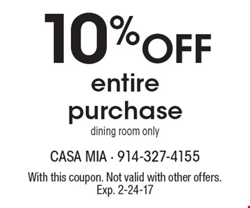 10% Off entire purchase. Dining room only. With this coupon. Not valid with other offers. Exp. 2-24-17