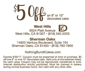$5 off a decorated cake 8