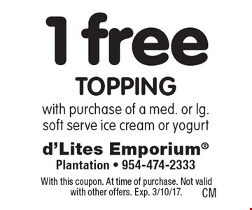 1 free topping with purchase of a med. or lg. soft serve ice cream or yogurt. With this coupon. At time of purchase. Not valid with other offers. Exp. 3/10/17.